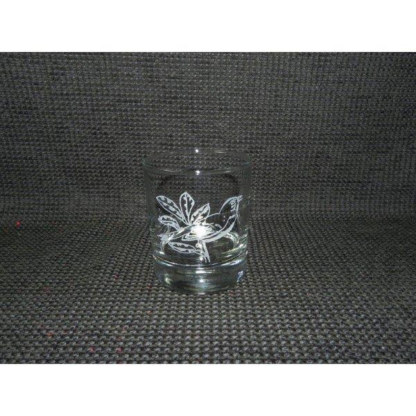 whiskyglas m/fuglemotiv