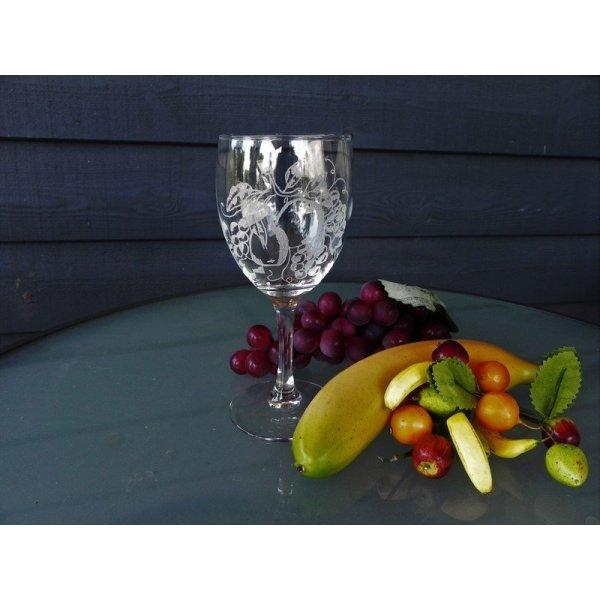 rød/hvidvinsglas m/frugtmotiv