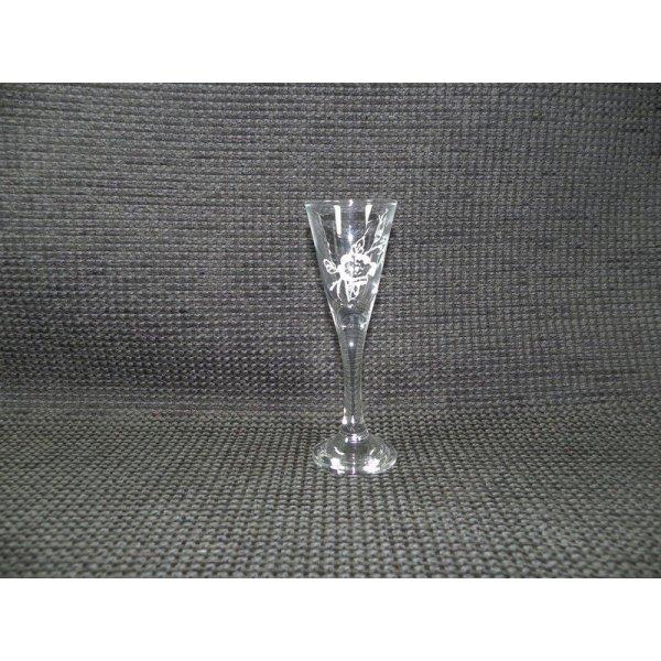 snapseglas på fod m/blomstermotiv