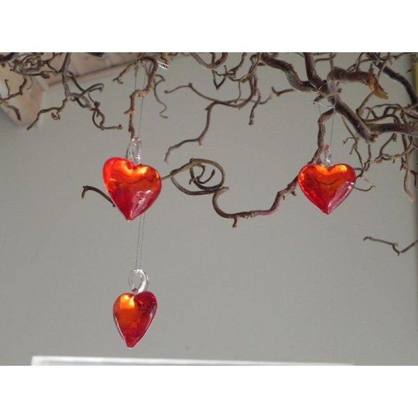glas hjerter røde