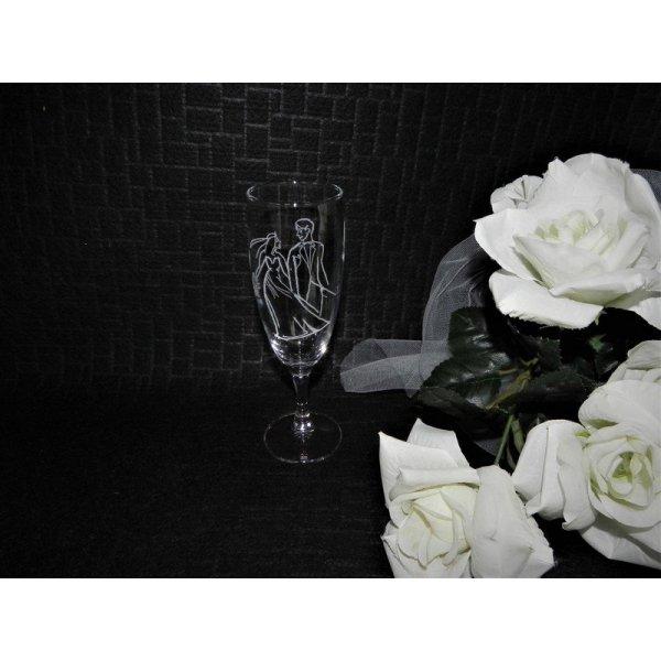 champagneglas med gravering af brudepar