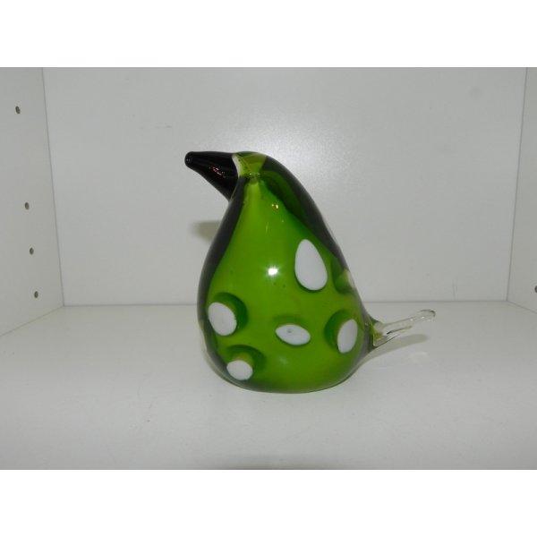 glas fugl grøn med hvide prikker