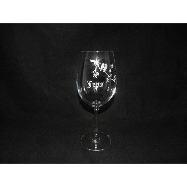 crystal glas med navn og blomst