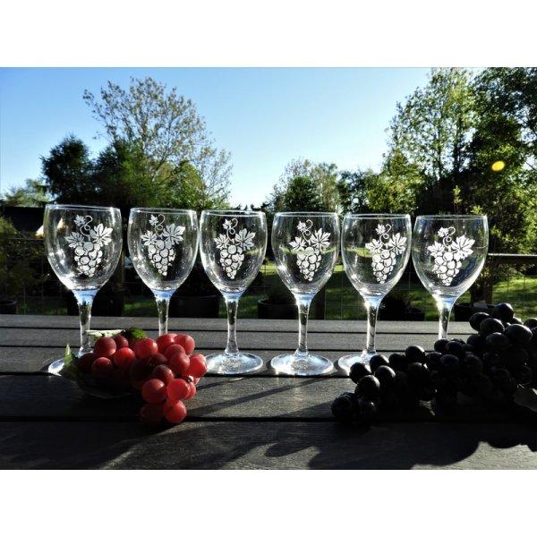 Rødvinsglas m/vindruemotiv
