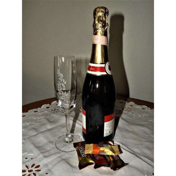 Champagneglas med motiv