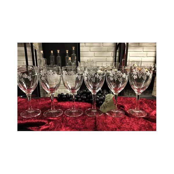 6 Rødvinsglas med vindruemotiv