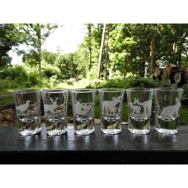 6 dramglas med jagtmotiver