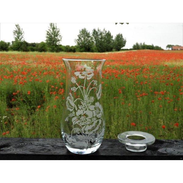vase 21 cm. med valmuemotiv og lys låg