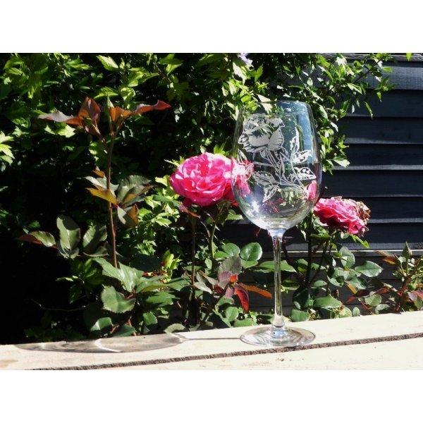 Burgund glas  med rosemotiv 76 cl